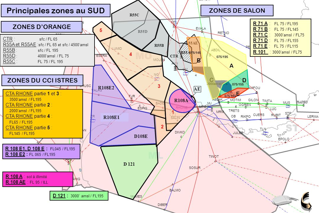 Principales zones au SUD