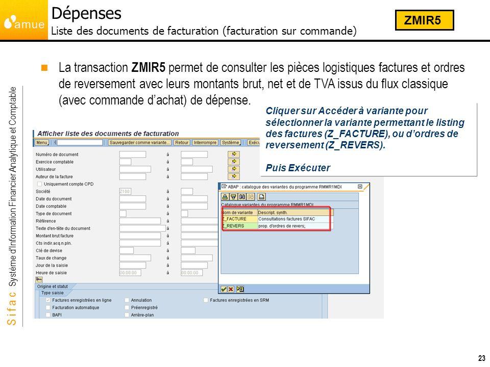 Dépenses Liste des documents de facturation (facturation sur commande)