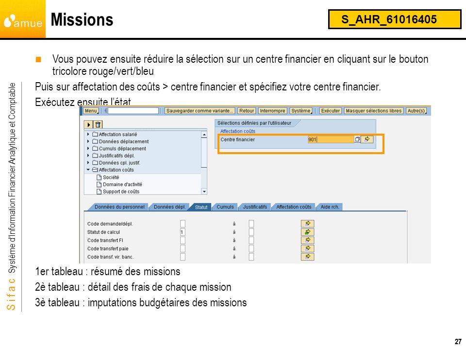 Missions S_AHR_61016405. Vous pouvez ensuite réduire la sélection sur un centre financier en cliquant sur le bouton tricolore rouge/vert/bleu.