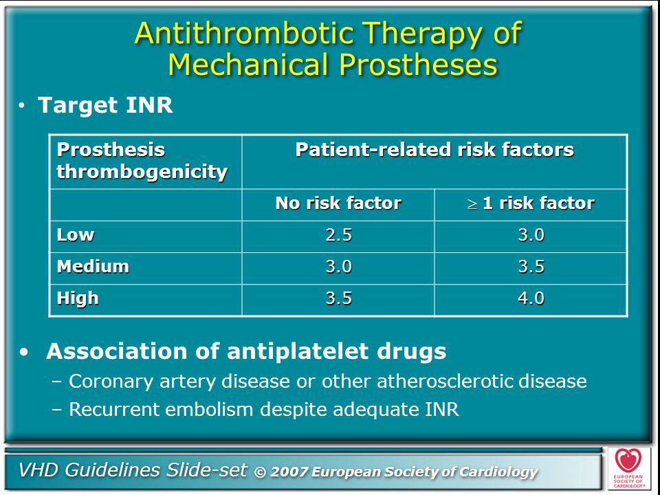Antithrombotic Therapy of Mechanical Prostheses