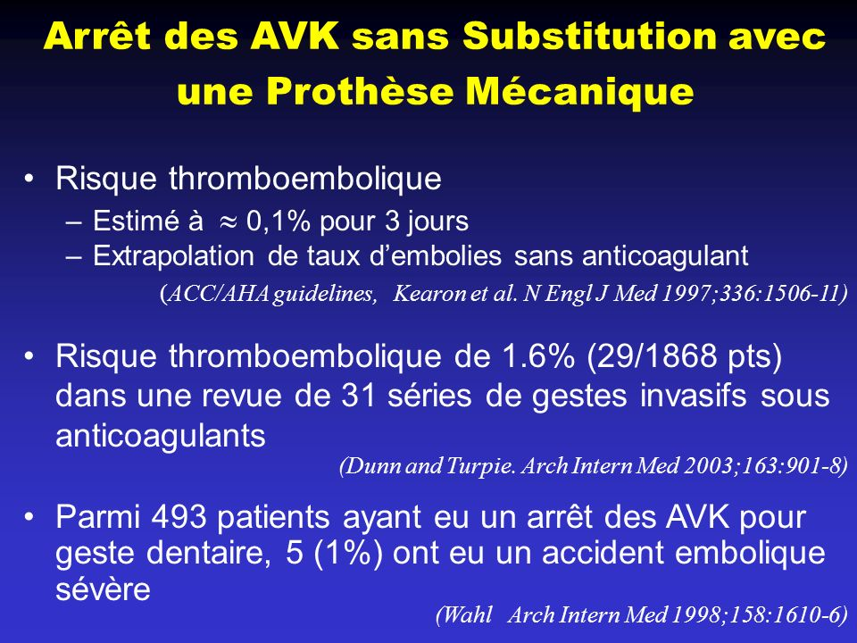 Arrêt des AVK sans Substitution avec une Prothèse Mécanique