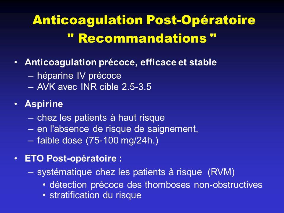 Anticoagulation Post-Opératoire Recommandations