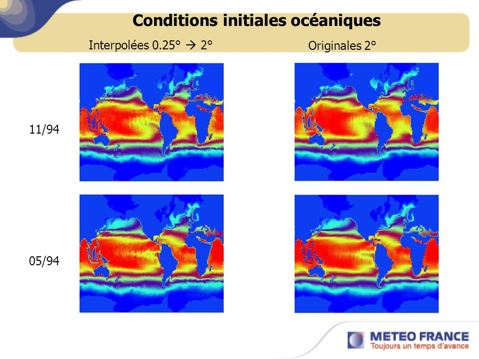 Conditions initiales océaniques