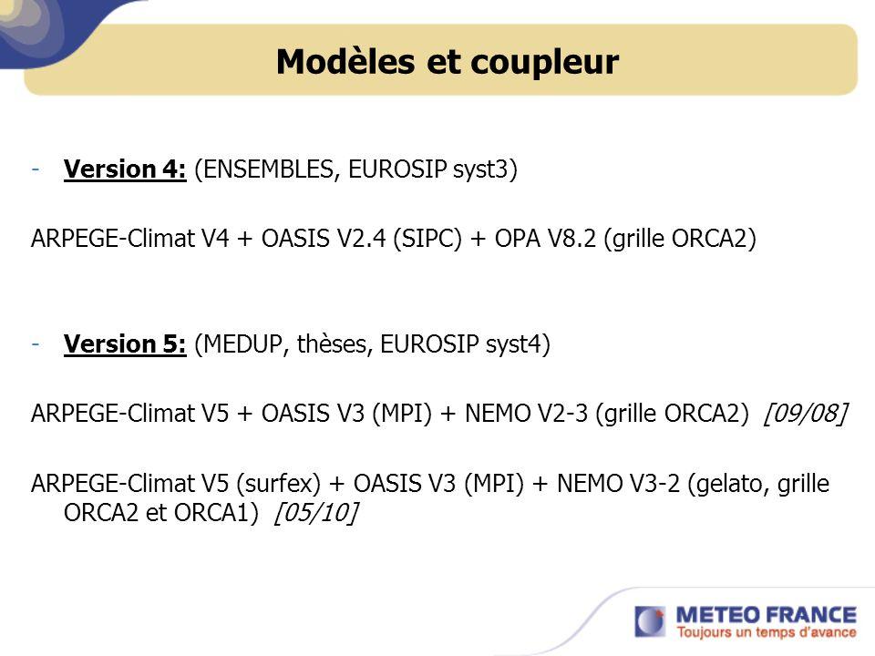 Modèles et coupleur Version 4: (ENSEMBLES, EUROSIP syst3)