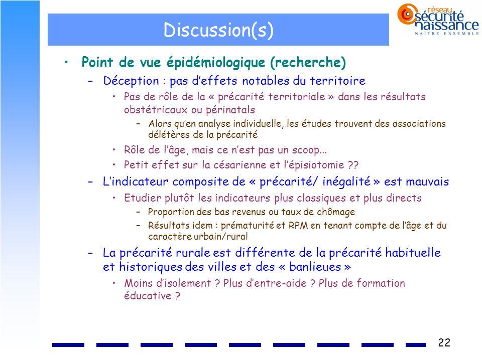 Discussion(s) Point de vue épidémiologique (recherche)