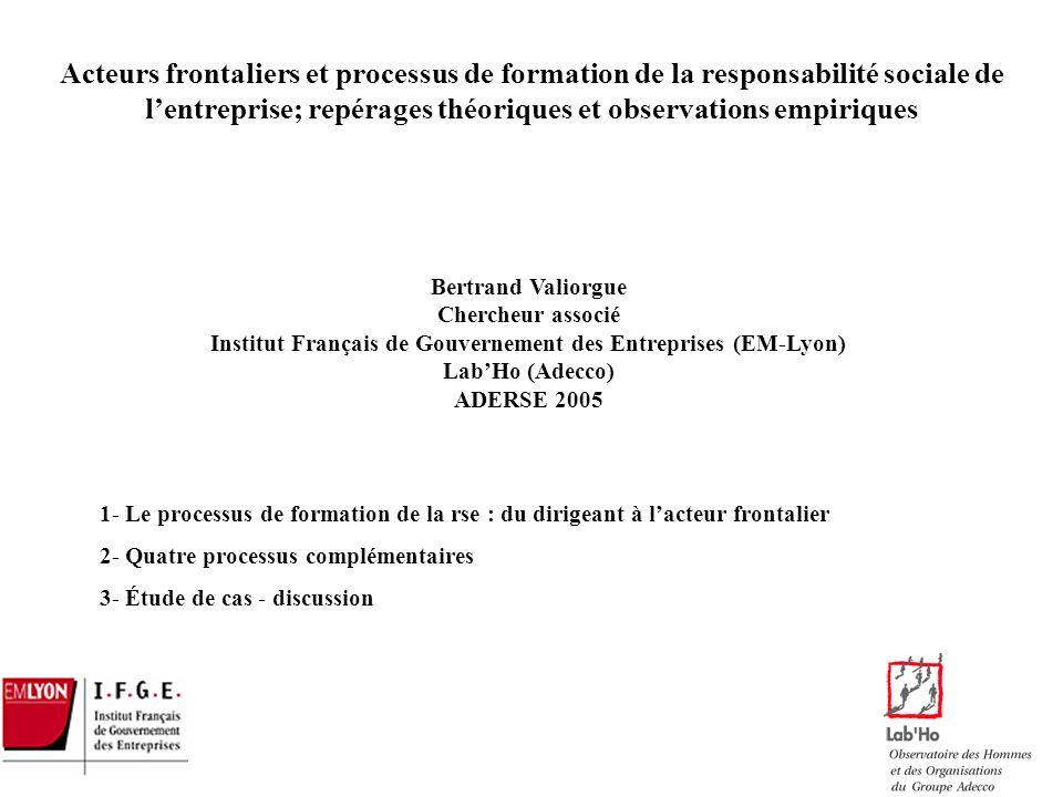 Acteurs frontaliers et processus de formation de la responsabilité sociale de l'entreprise; repérages théoriques et observations empiriques
