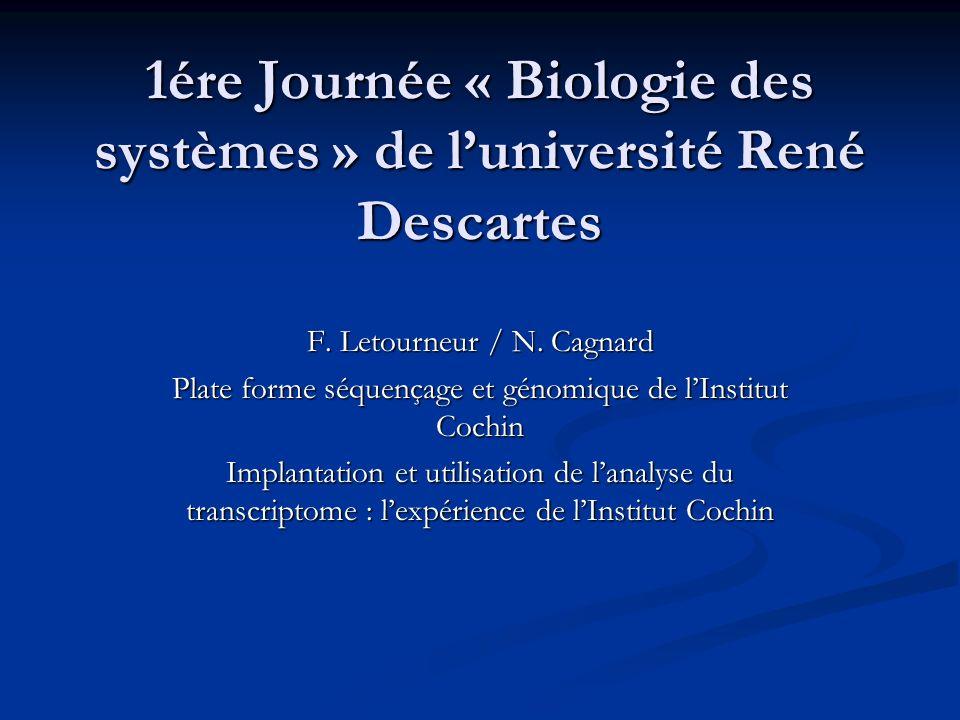 1ére Journée « Biologie des systèmes » de l'université René Descartes