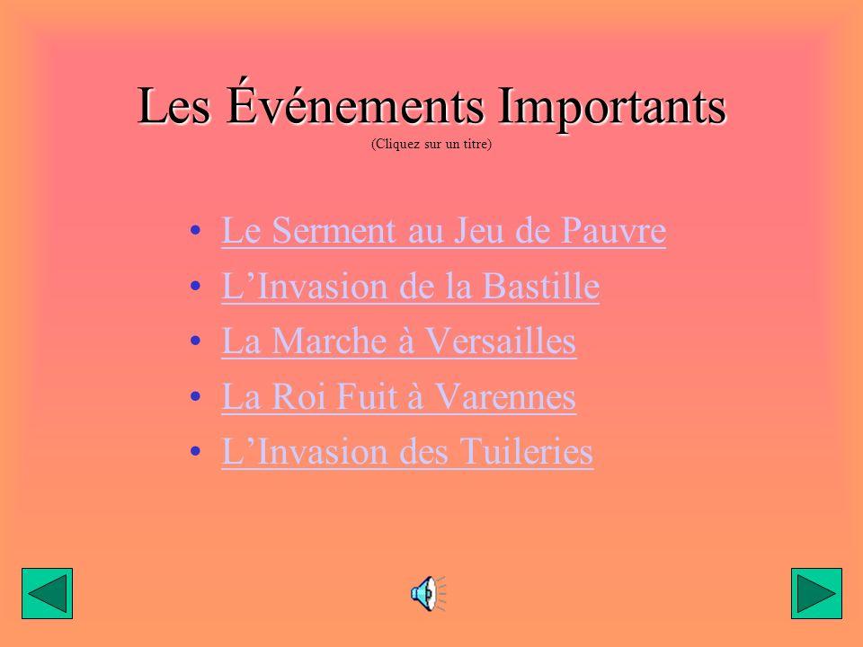 Les Événements Importants (Cliquez sur un titre)