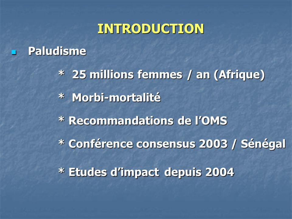INTRODUCTION Paludisme * 25 millions femmes / an (Afrique)