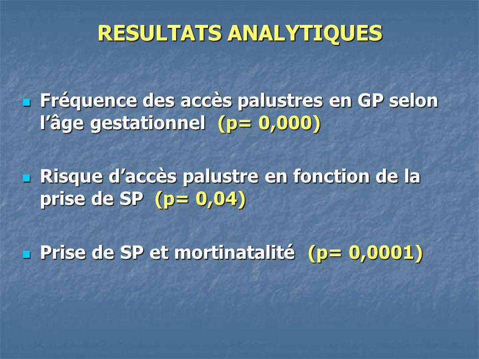 RESULTATS ANALYTIQUES