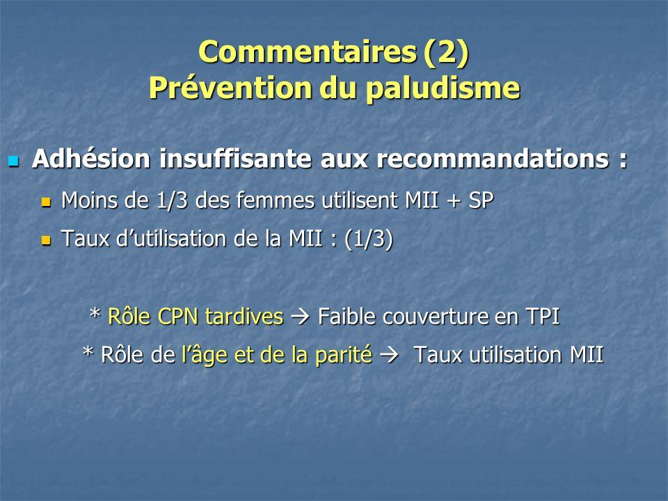 Commentaires (2) Prévention du paludisme