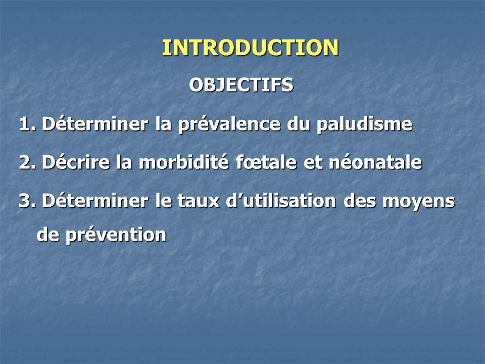 INTRODUCTION OBJECTIFS 1. Déterminer la prévalence du paludisme