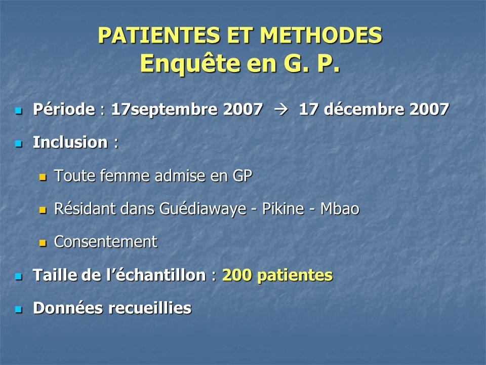 PATIENTES ET METHODES Enquête en G. P.