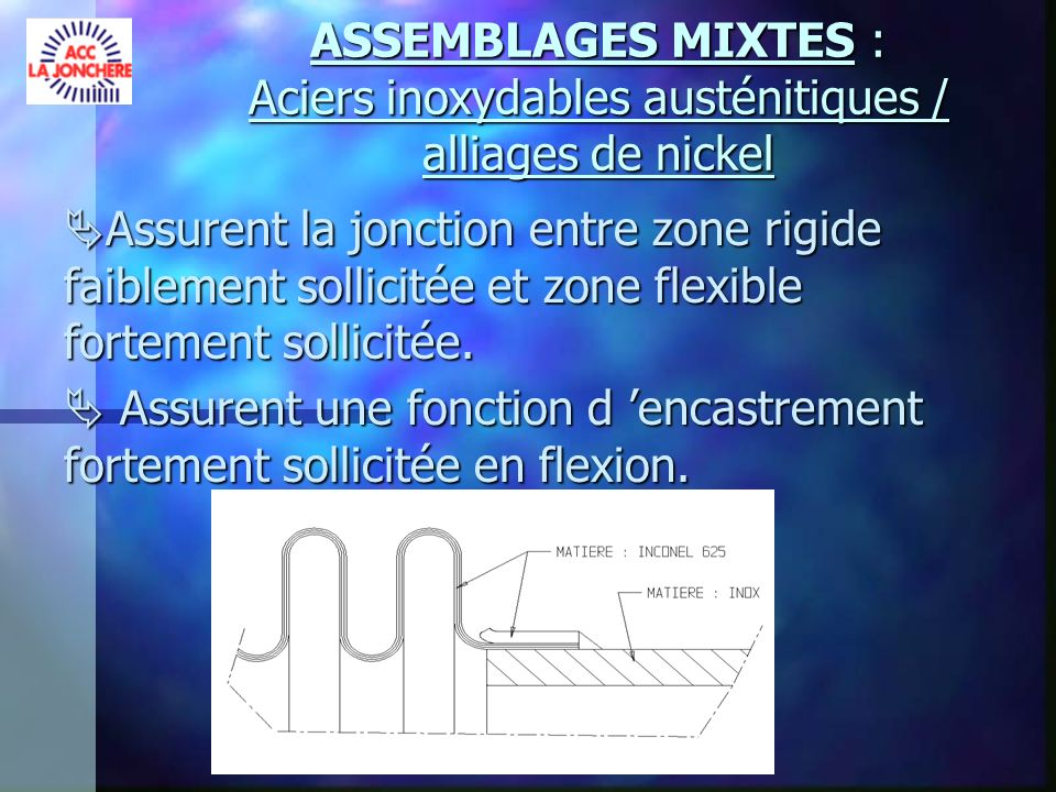 ASSEMBLAGES MIXTES : Aciers inoxydables austénitiques / alliages de nickel