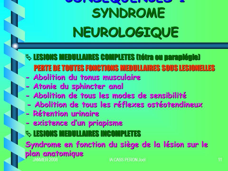 CONSEQUENCES 1 SYNDROME NEUROLOGIQUE