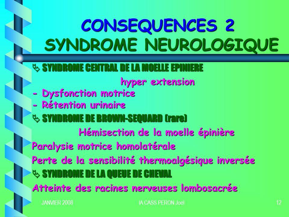 CONSEQUENCES 2 SYNDROME NEUROLOGIQUE