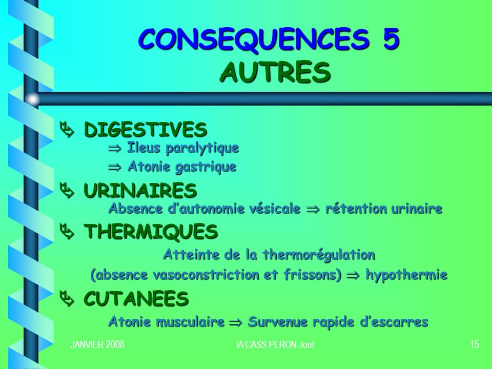 CONSEQUENCES 5 AUTRES  DIGESTIVES  URINAIRES  THERMIQUES  CUTANEES