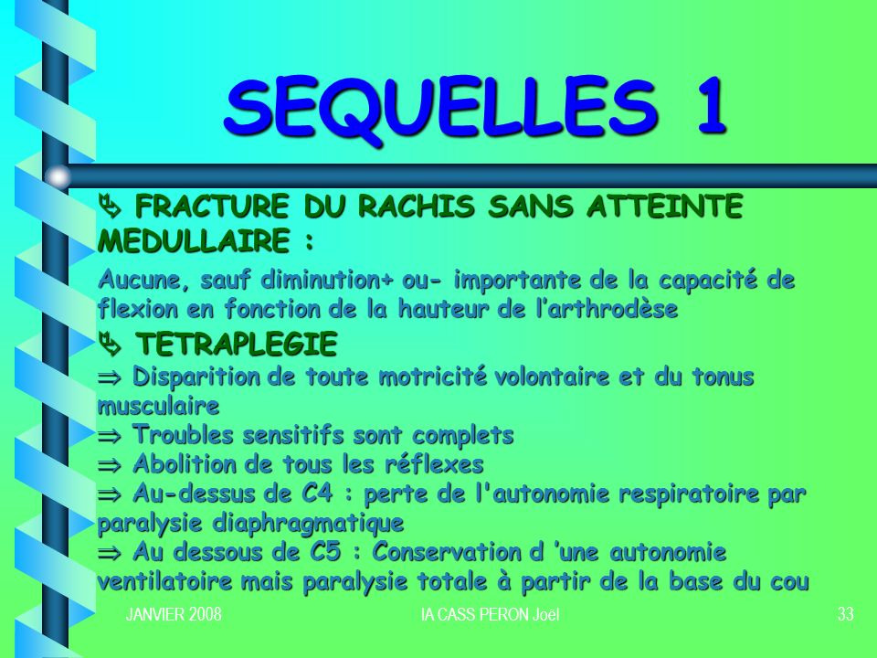 SEQUELLES 1  FRACTURE DU RACHIS SANS ATTEINTE MEDULLAIRE :