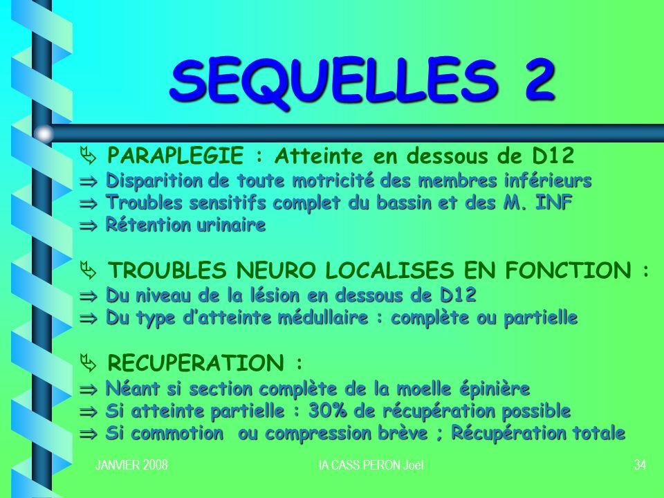 SEQUELLES 2  PARAPLEGIE : Atteinte en dessous de D12
