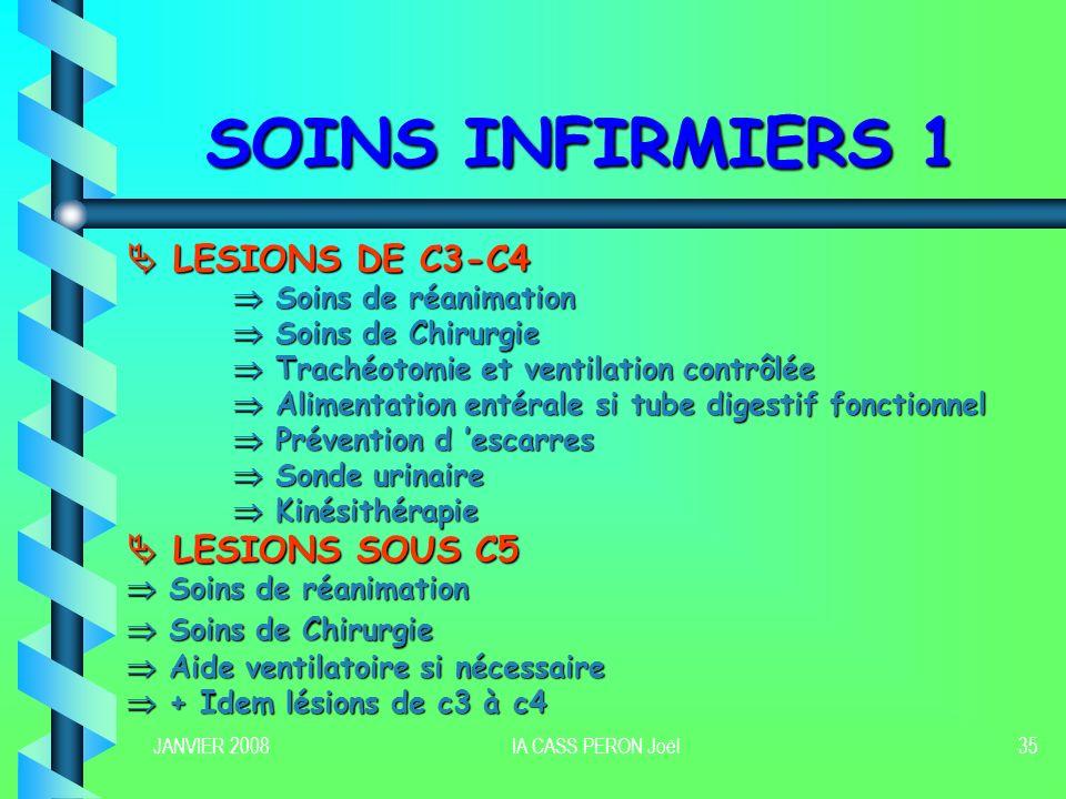 SOINS INFIRMIERS 1  LESIONS DE C3-C4  LESIONS SOUS C5