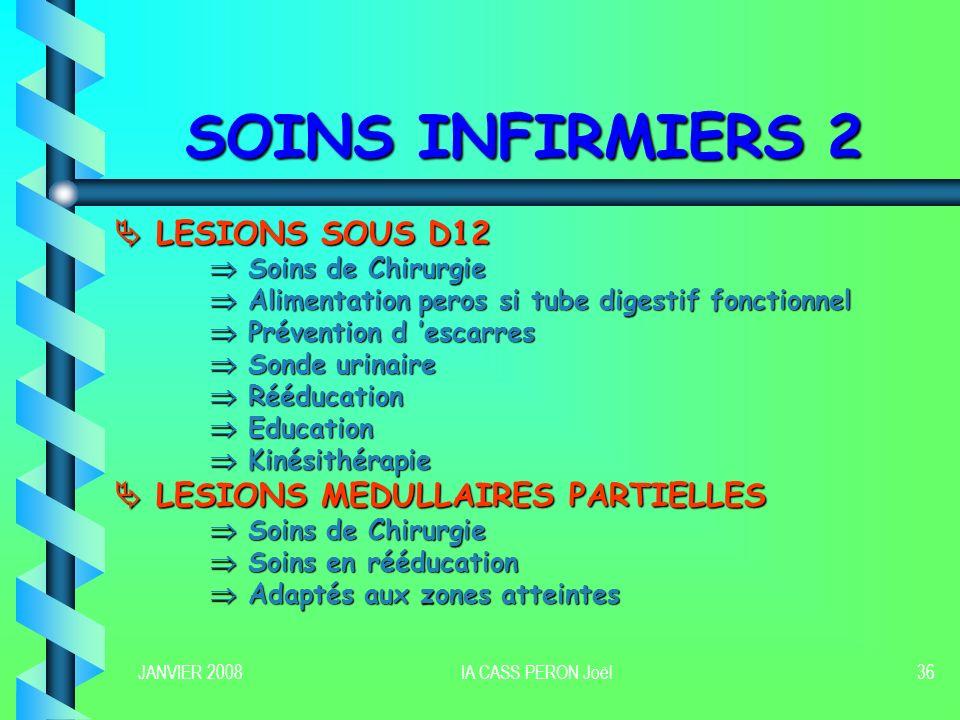 SOINS INFIRMIERS 2  LESIONS SOUS D12  LESIONS MEDULLAIRES PARTIELLES