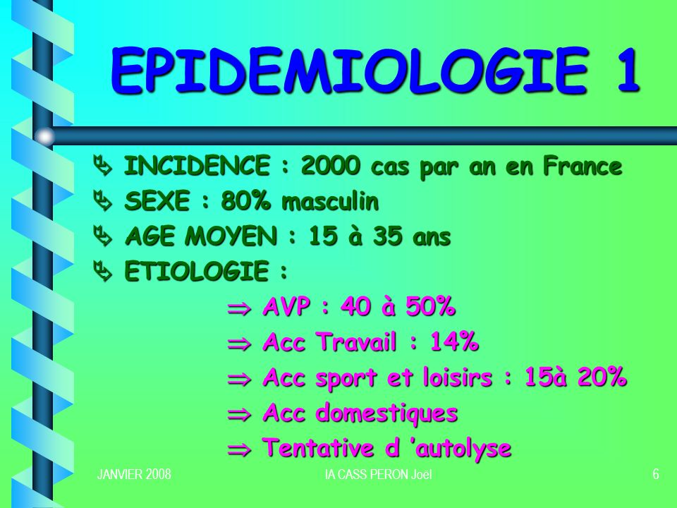 EPIDEMIOLOGIE 1  INCIDENCE : 2000 cas par an en France