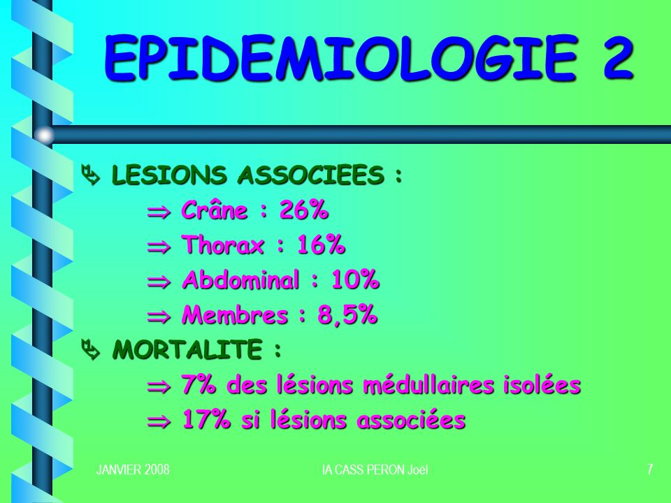 EPIDEMIOLOGIE 2  LESIONS ASSOCIEES :  Crâne : 26%  Thorax : 16%