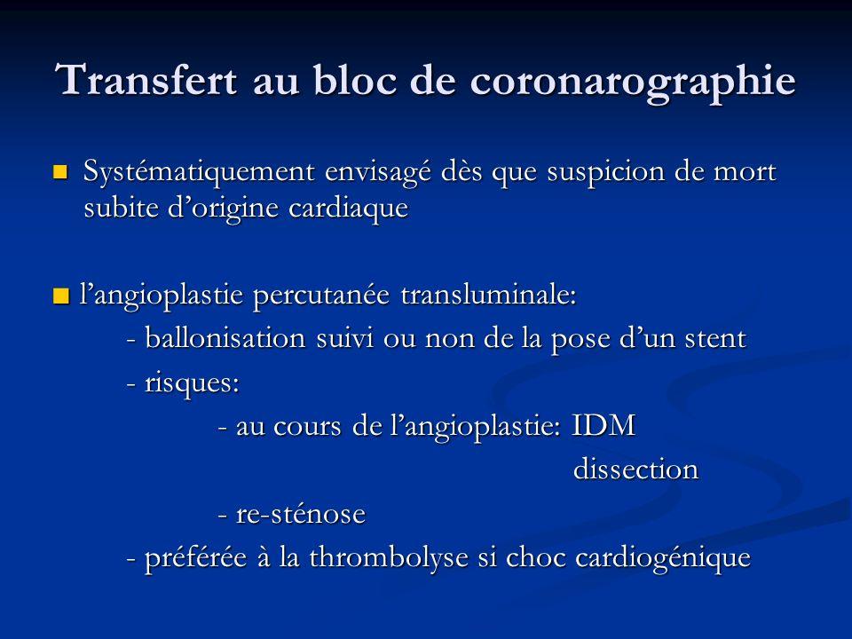 Transfert au bloc de coronarographie