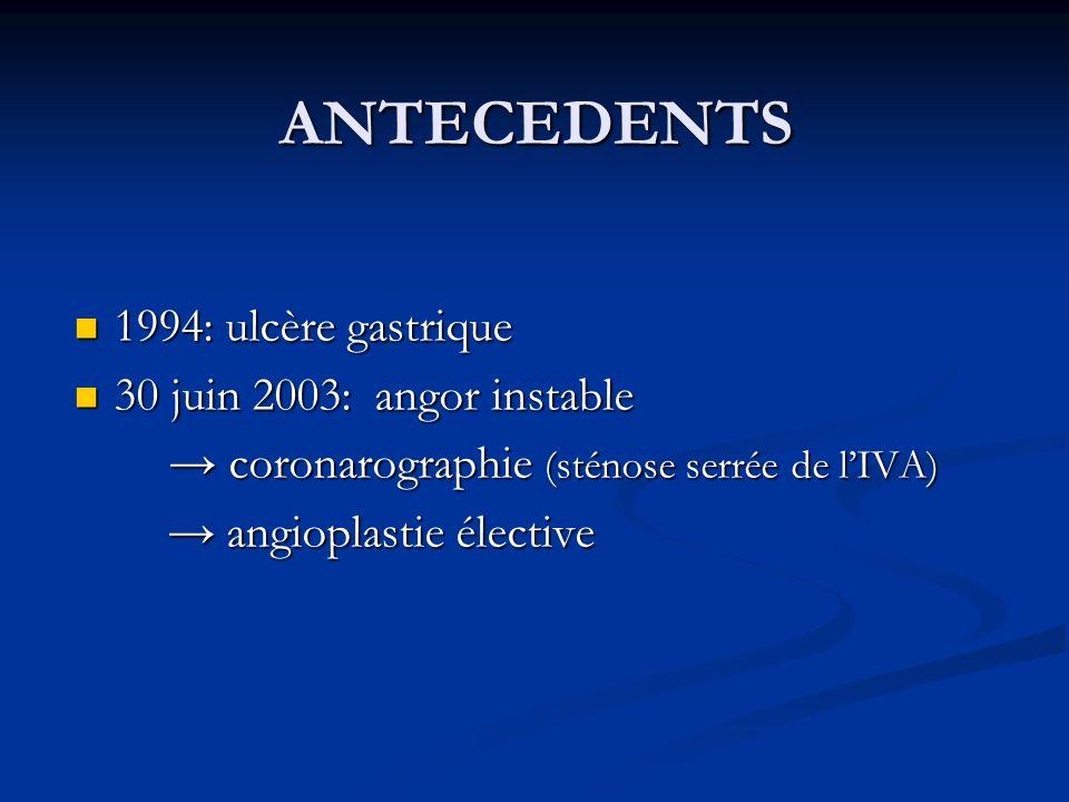 ANTECEDENTS 1994: ulcère gastrique 30 juin 2003: angor instable