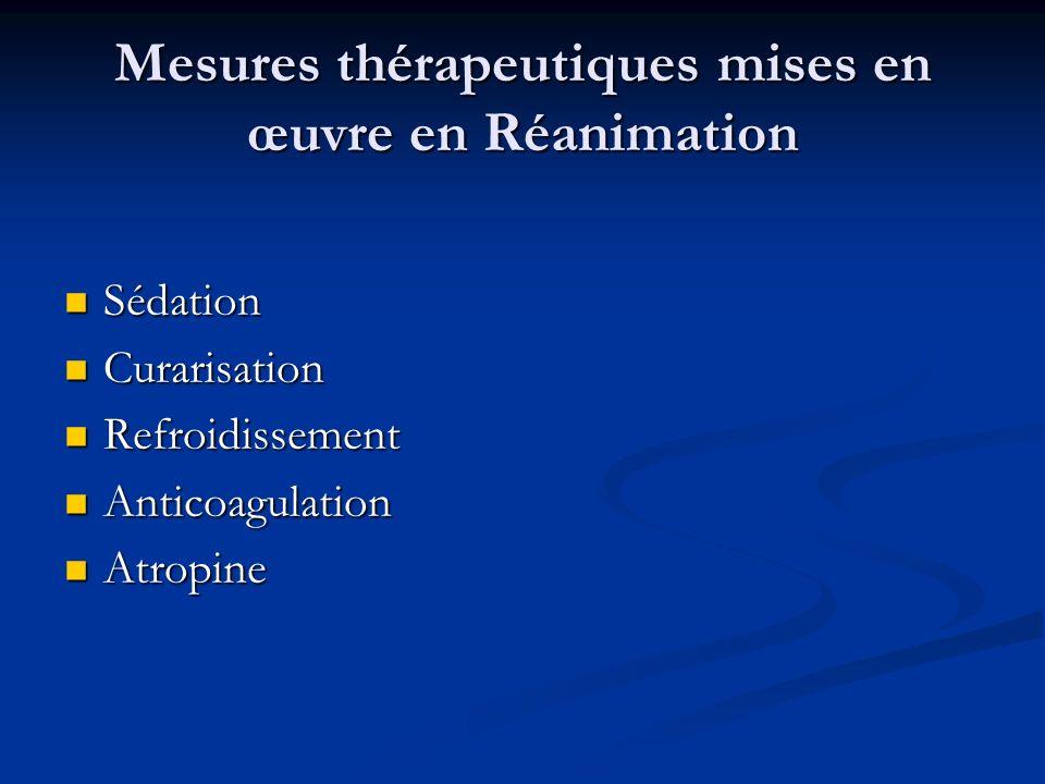Mesures thérapeutiques mises en œuvre en Réanimation