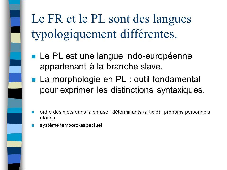 Le FR et le PL sont des langues typologiquement différentes.