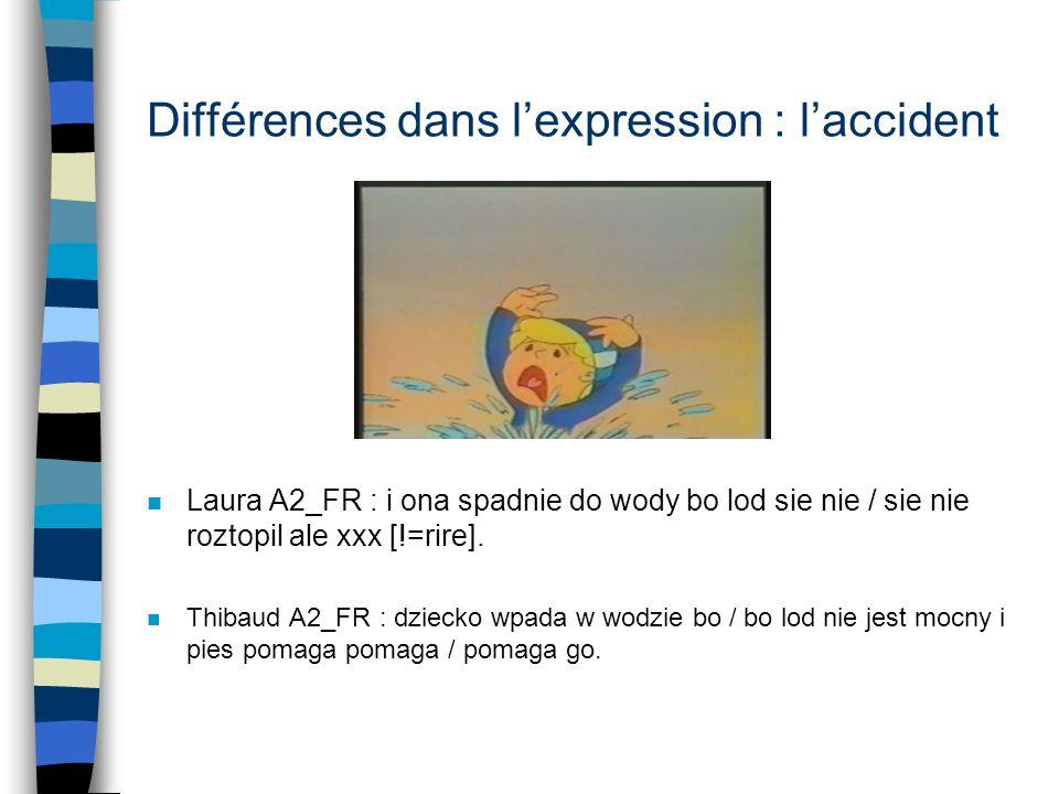 Différences dans l'expression : l'accident
