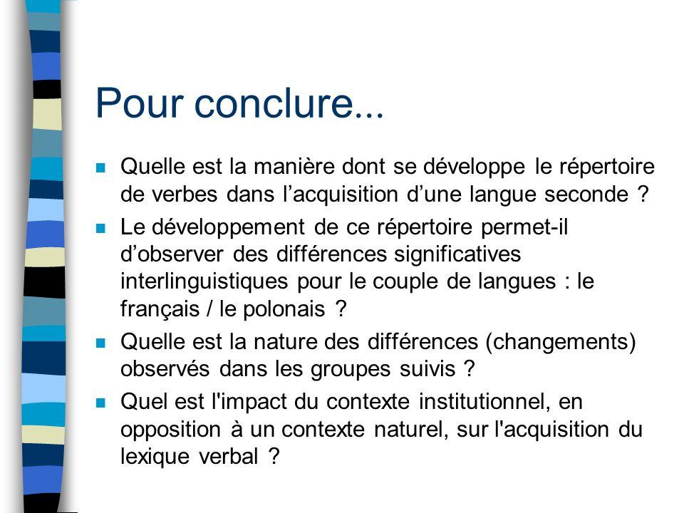 Pour conclure... Quelle est la manière dont se développe le répertoire de verbes dans l'acquisition d'une langue seconde
