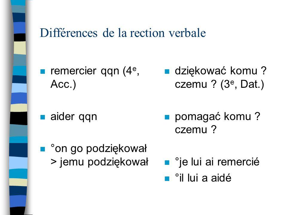 Différences de la rection verbale