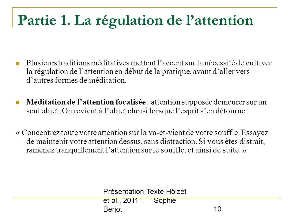 Partie 1. La régulation de l'attention