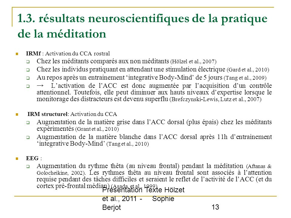 1.3. résultats neuroscientifiques de la pratique de la méditation
