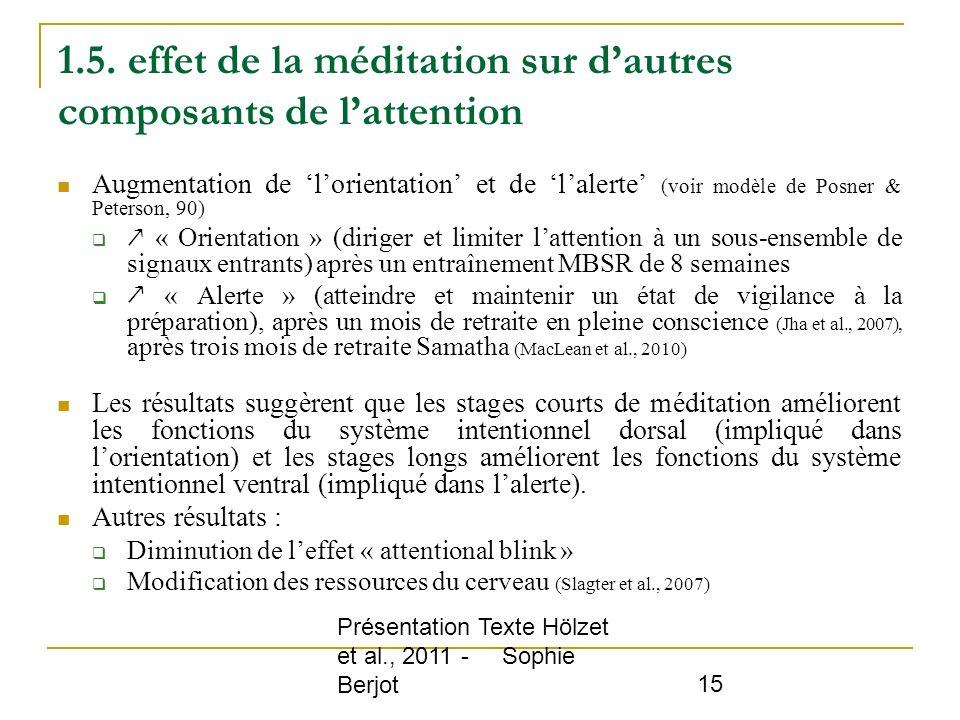 1.5. effet de la méditation sur d'autres composants de l'attention