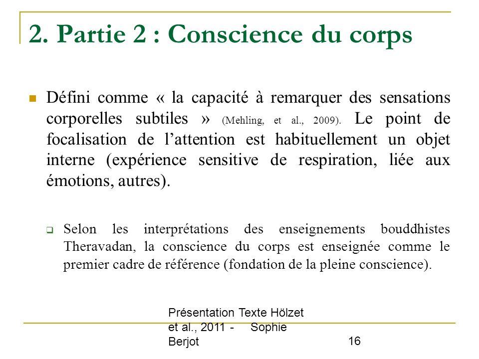 2. Partie 2 : Conscience du corps