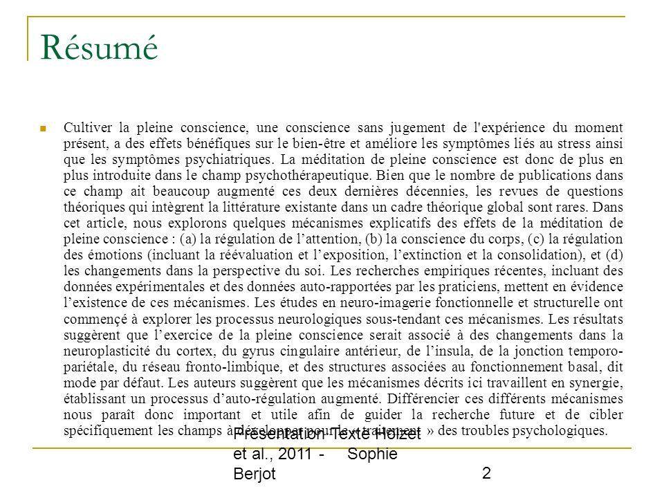Résumé Présentation Texte Hölzet et al., 2011 - Sophie Berjot