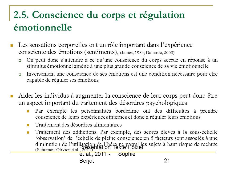 2.5. Conscience du corps et régulation émotionnelle