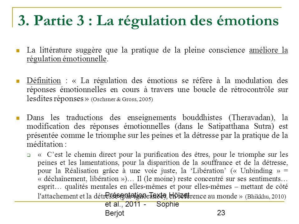 3. Partie 3 : La régulation des émotions