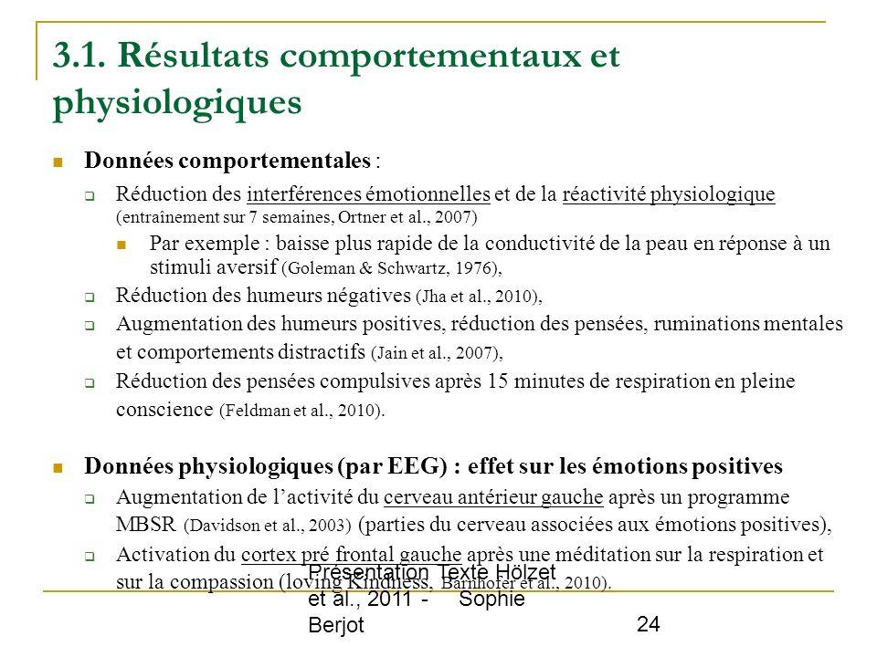 3.1. Résultats comportementaux et physiologiques