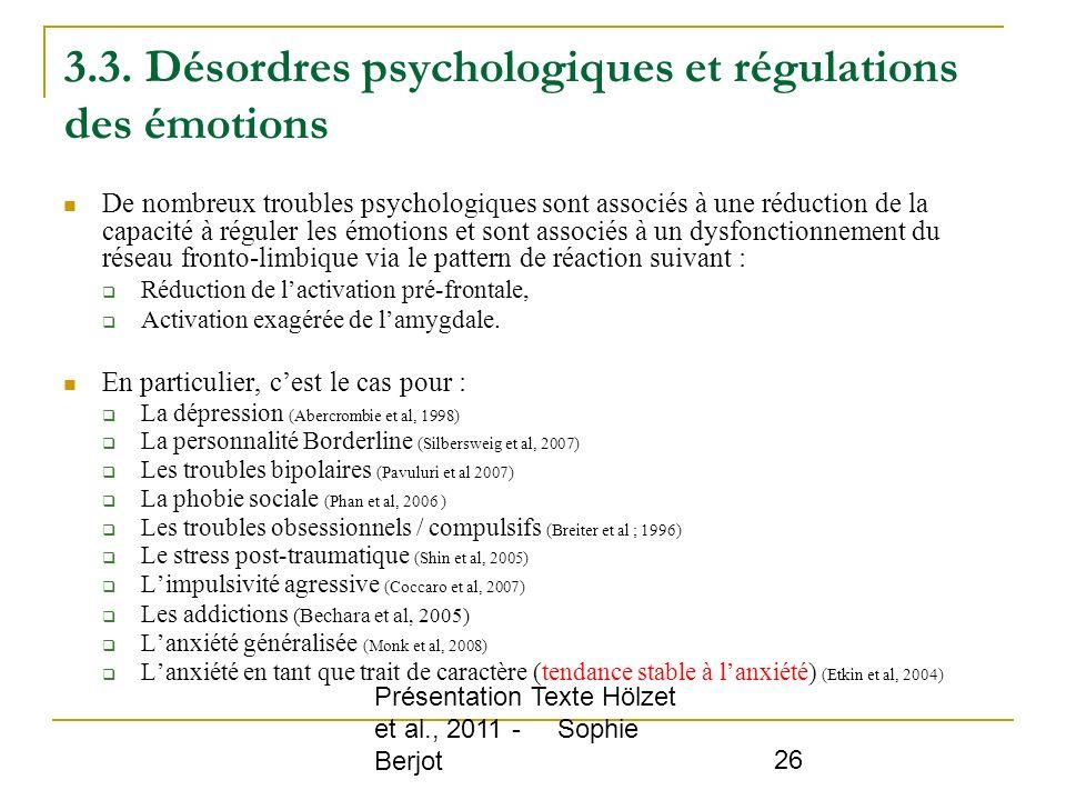 3.3. Désordres psychologiques et régulations des émotions