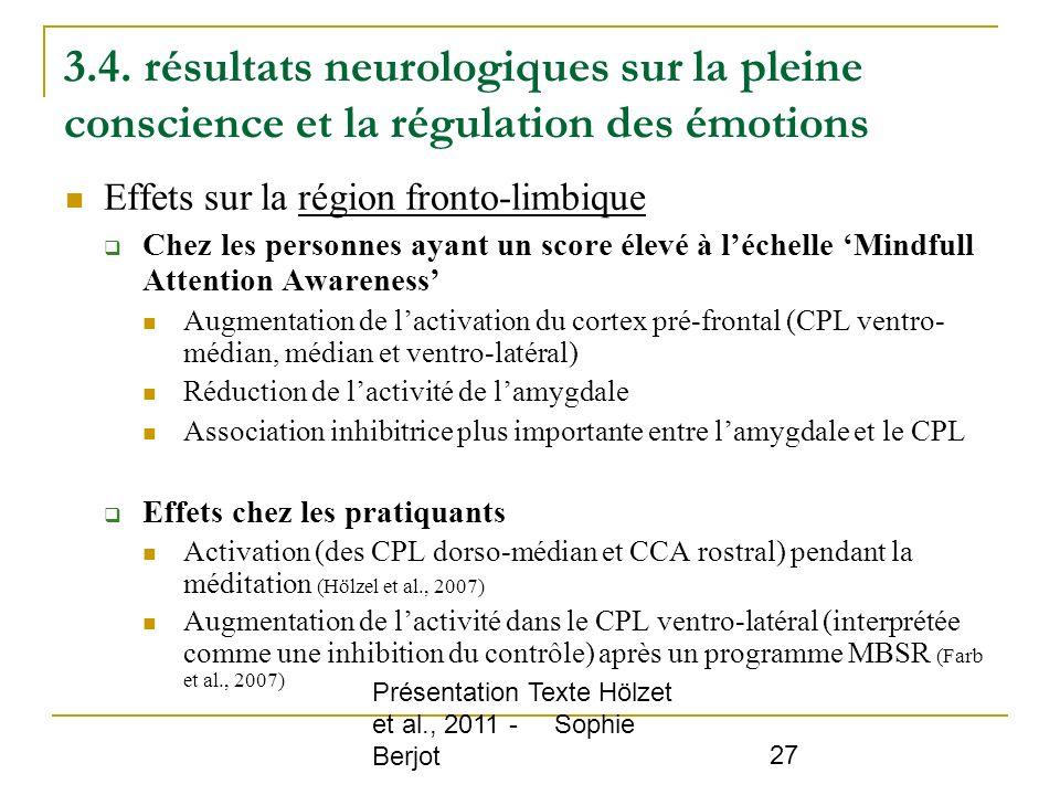 3.4. résultats neurologiques sur la pleine conscience et la régulation des émotions