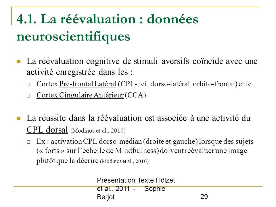 4.1. La réévaluation : données neuroscientifiques