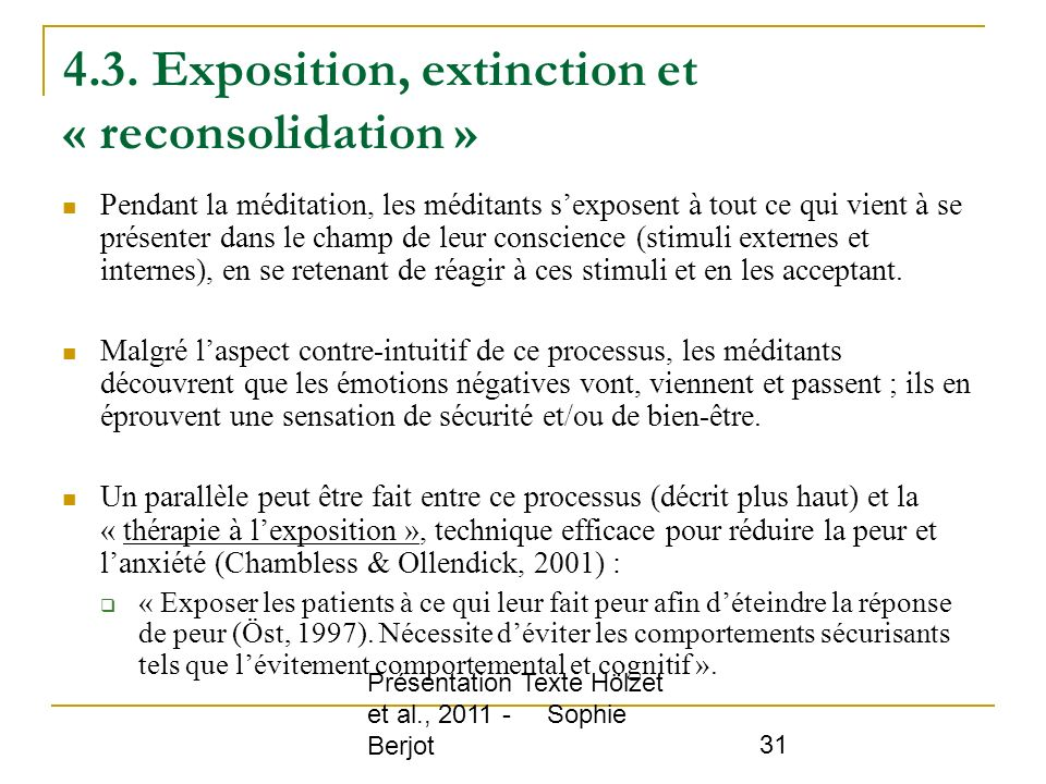 4.3. Exposition, extinction et « reconsolidation »