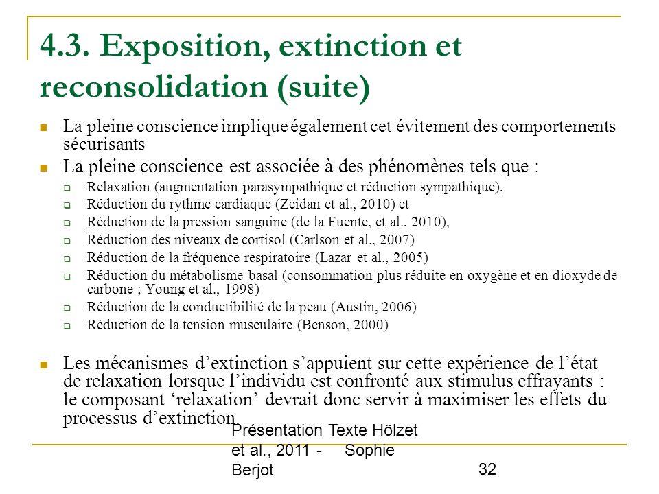 4.3. Exposition, extinction et reconsolidation (suite)
