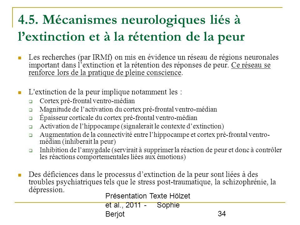 4.5. Mécanismes neurologiques liés à l'extinction et à la rétention de la peur