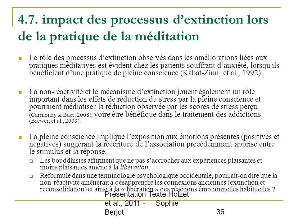 4.7. impact des processus d'extinction lors de la pratique de la méditation
