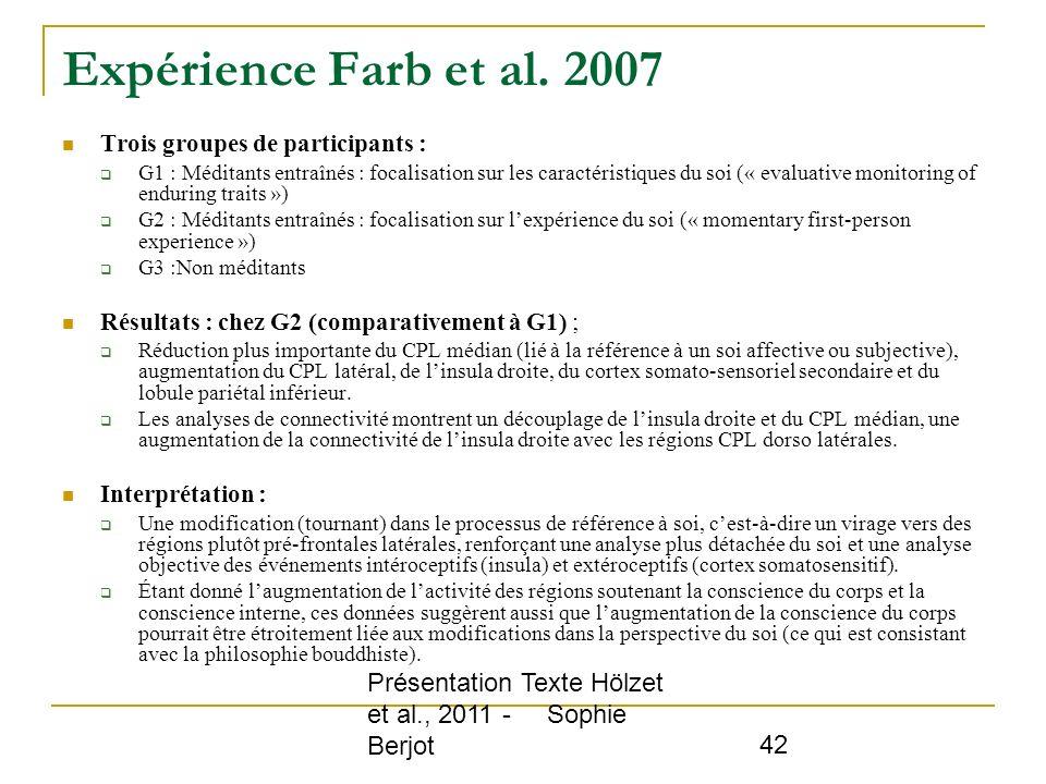 Expérience Farb et al. 2007 Trois groupes de participants :